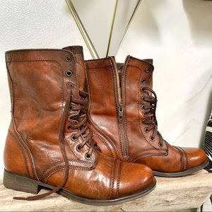 Stunning Combat BOHO boots in antique distressed rustic leather✨